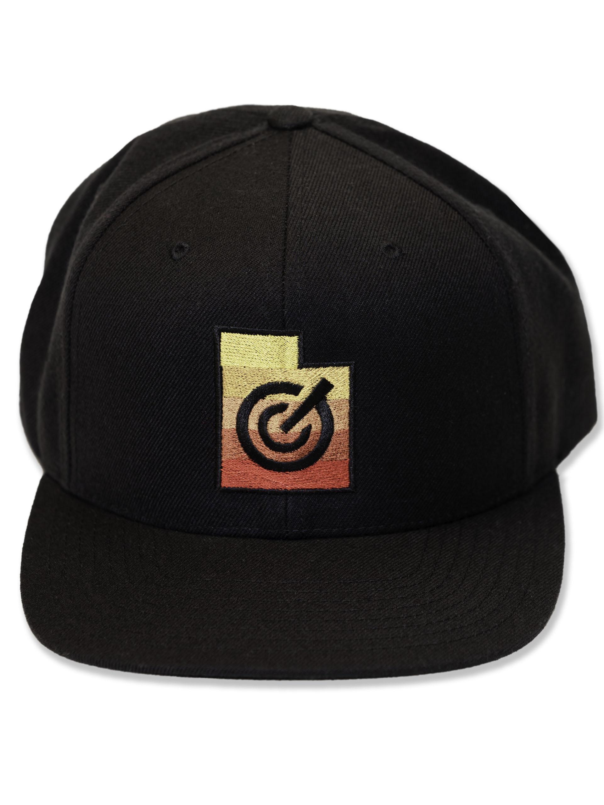 Solid Black Adjustable Utah State Hat